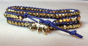 LSU Triple-Wrap Leather Bracelet